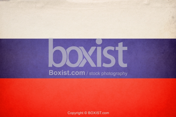 Flag of Russia on Old Grunge Vintage Paper