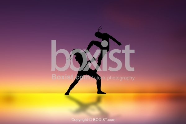 Muay Thai Boxers at Sunset