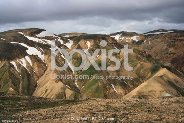 Multicolored Rhyolite Mountains in Landmannalaugar Iceland