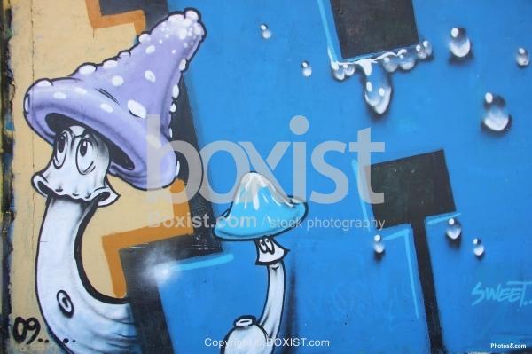 Mushroom Blue Graffiti Wall