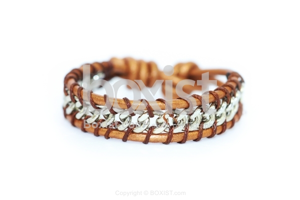 Brown Leather and Braided Silver Faceted Beads Bracelet