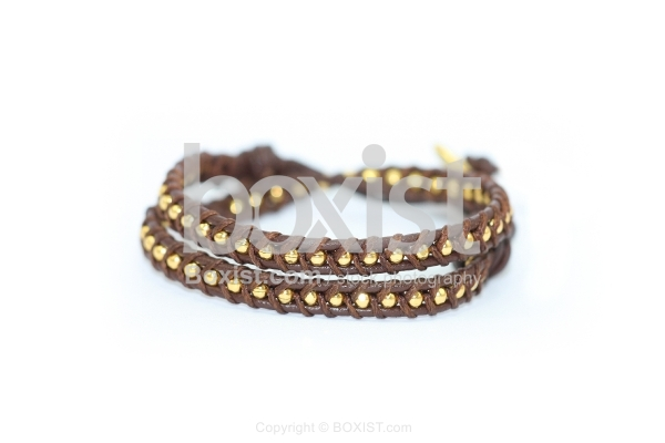 Brown Leather and Golden Faceted Beads Bracelet