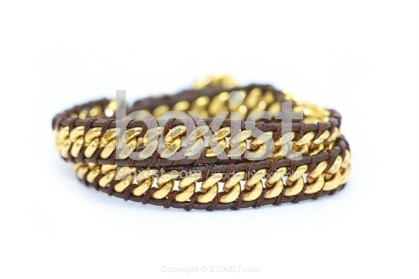 Brown and Golden Faceted Beads Bracelet