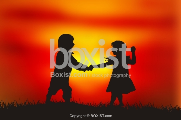 Two Children Boy and Girl Playing Silhouette