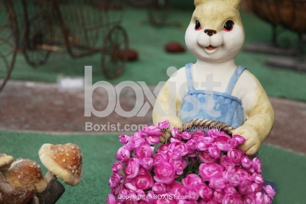 Bunny with Flowers Basket