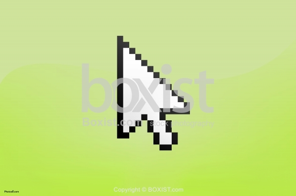 Mouse Cursor Icon on Green Background