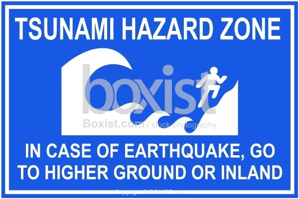 Tsunami Blue Warning Sign
