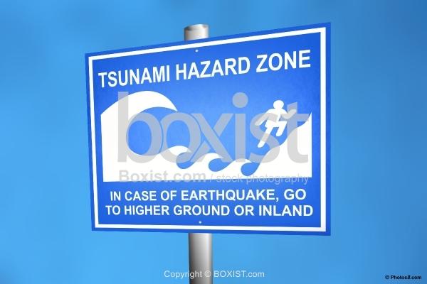 Tsunami Hazard Zone Sign