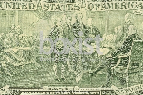 Two Dollars Bill with Declaration of Independence