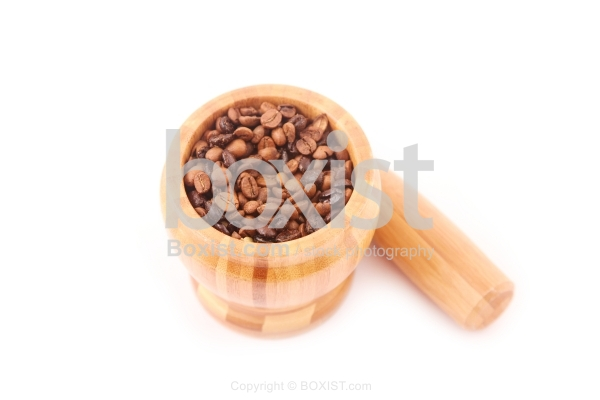 Mortar and Pestle with Coffee Beans