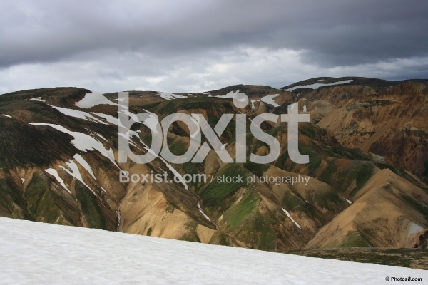 Mountains of Landmannalaugar With Snow