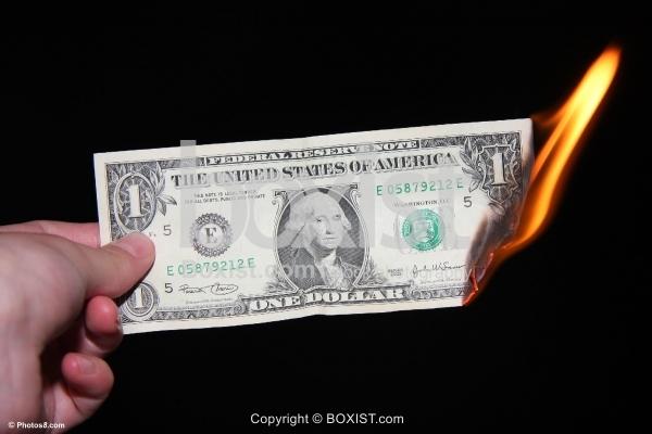 Burning Dollar Bill Money