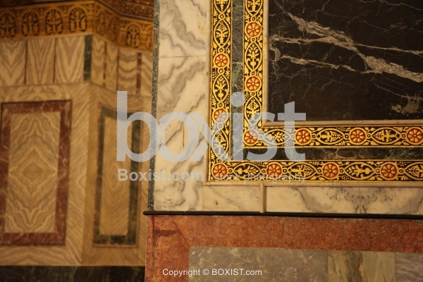 Decorative Marble Walls Inside Dome of the Rock