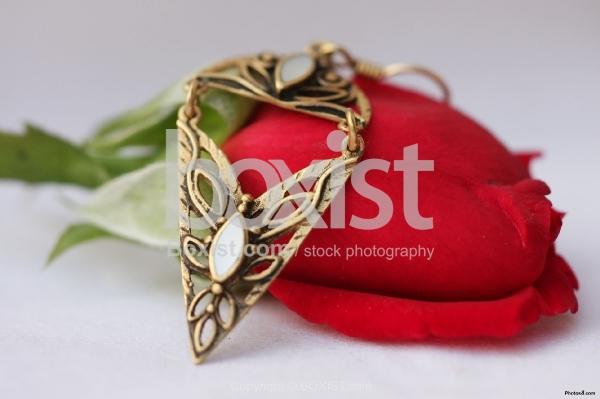 Earring on Red Rose