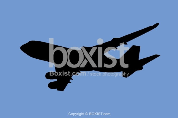 Airplane Silhouette on Blue Sky Background