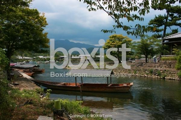 Boats on Katsura River in Arashiyama Kyoto