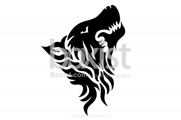 Tribal Wolf Stencil Logo Design