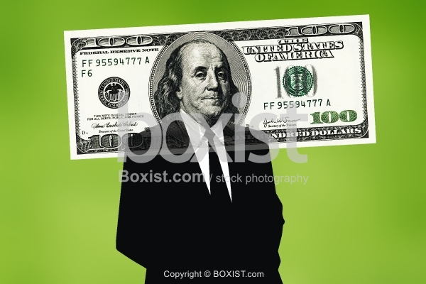 Ben Franklin in a Business Suit on Hundred Dollar Bill