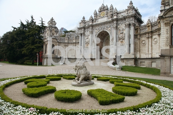 Gate of the Treasury and Lion Sculpture at Dolmabahce Palace