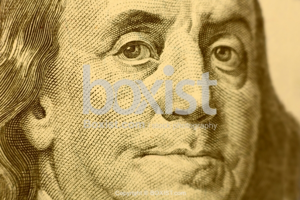 Closeup of Benjamin Franklin Face