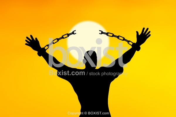 Man Hands With Broken Chains