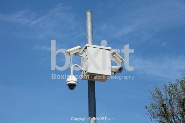 Pole with Outdoor Surveillance Cameras