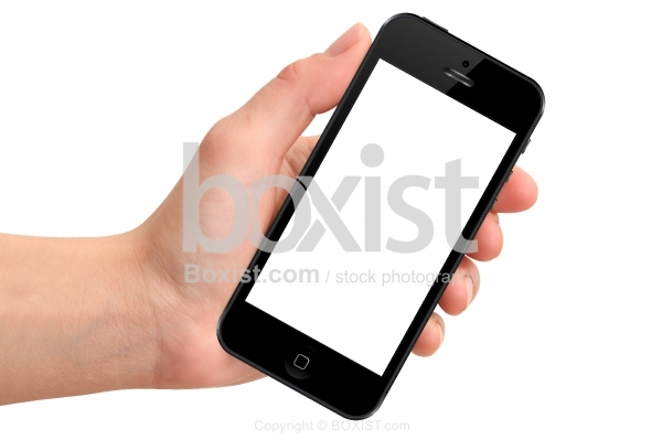 Hand Holding a Cellular Phone with Blank Screen