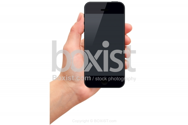 Hand Holding a Smart Phone with Black Screen