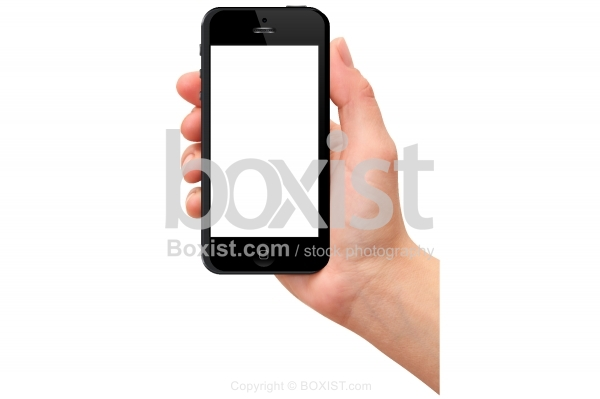 Hand Holding a Smart Phone with White Screen