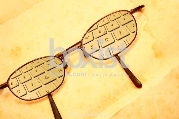 Vintage Reading Glasses with Keyboard