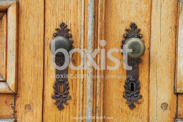 Wooden Door With Old Handles