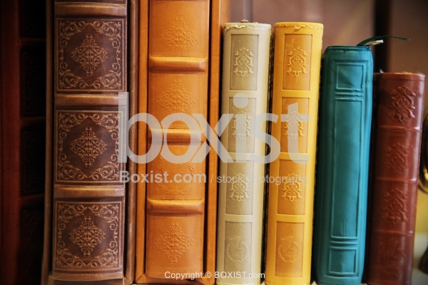 Antique Books Stack With Leather Covers