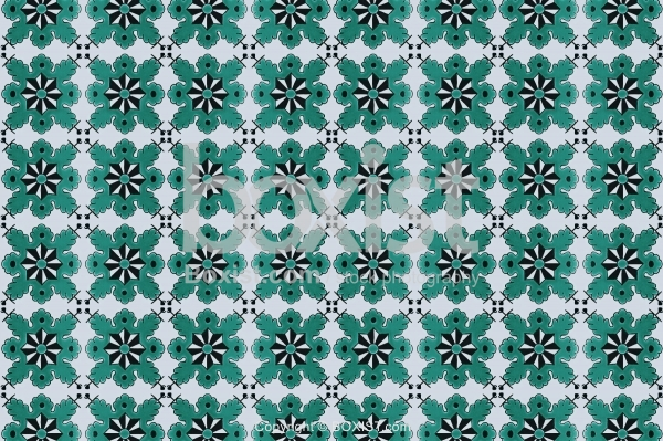 Arabesque Motif Patterns in Green and Black.