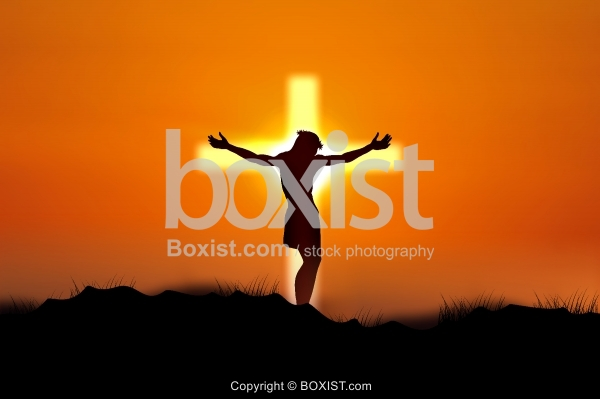 Jesus On Glowing Cross At Sunset