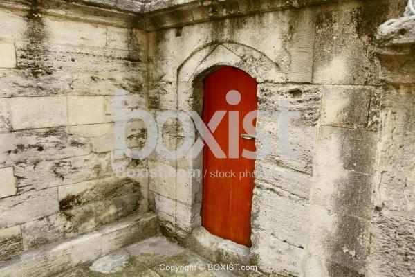 Brown Door In Old Stone House