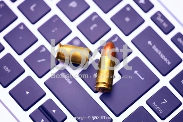 Bullet Shells on Top of Keyboard
