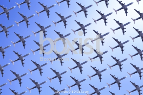 Sky With Airplanes Pattern