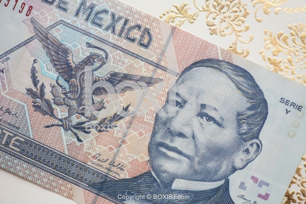 Closeup Of Mexican Money Banknote