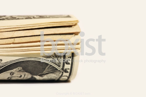 Closeup of Money Notes Rolled