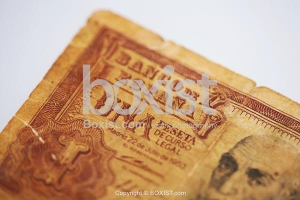 Closeup of Old Spanish Banco De Espana One Peseta Banknote