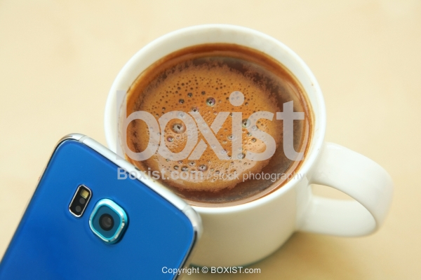 Coffee Cup With Mobile Phone Camera