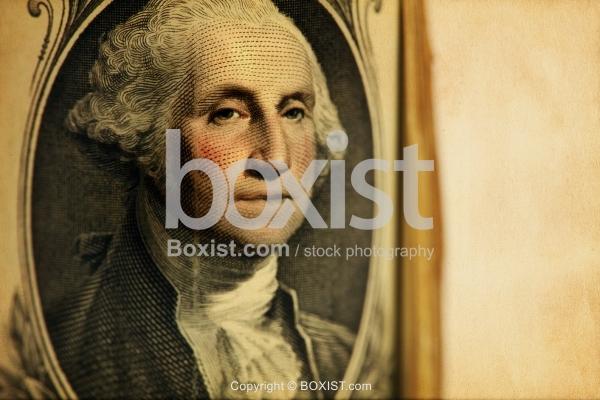 Colored Portrait Of George Washington On One Dollar Bill