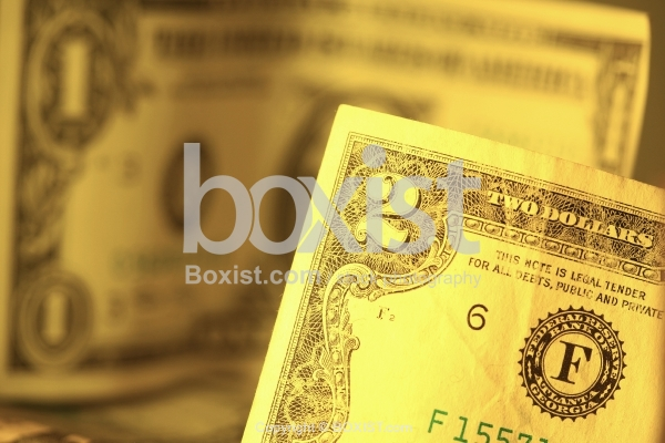 Focus Over Two Dollars Bill