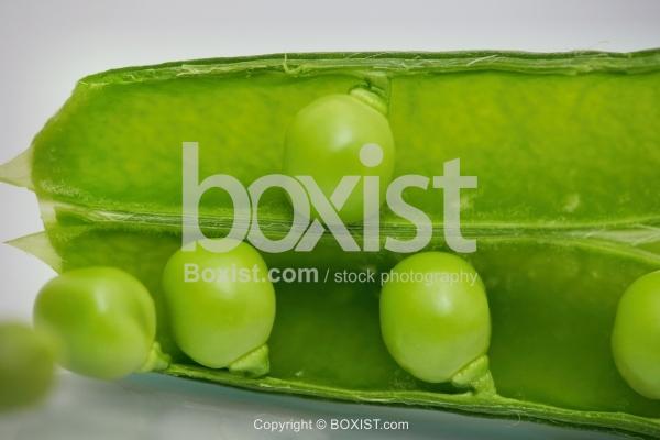 Green Ripe Peas In Leaf