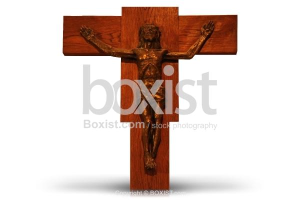 Jesus On Cross Isolated On White Background