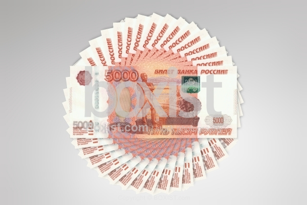 Money Circle Made With Russian Banknotes Cash