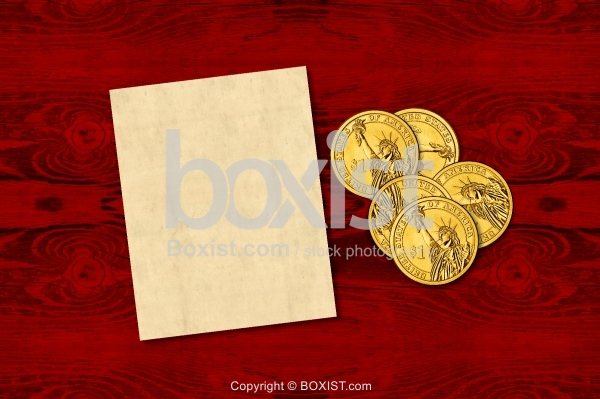 Money Coins With Blank Note