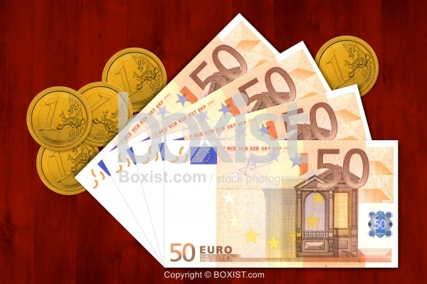 Money Euro Coins And Fifty Notes