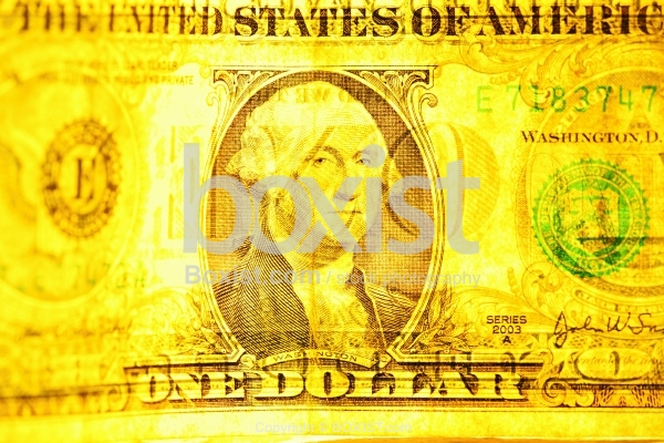 One Dollar Note With Light Reflection