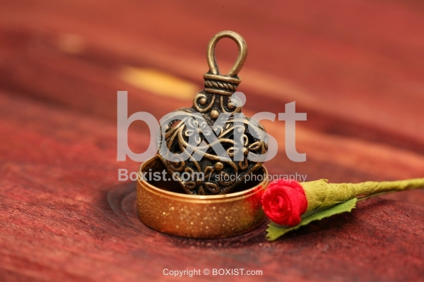Ring And Heart With Red Rose